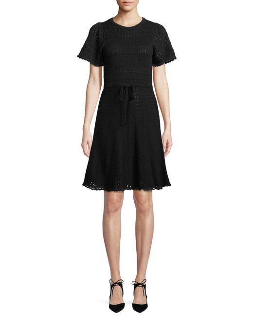 Kate Spade - Black Short-sleeve Cotton Sweater Dress - Lyst