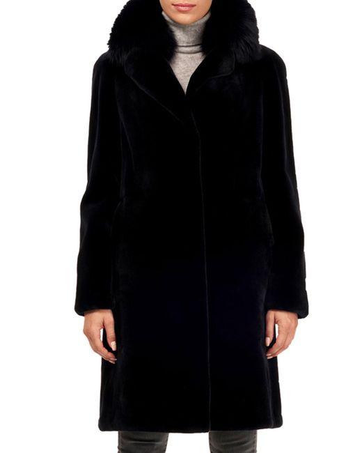 Gorski - Blue Sheared Mink Fur Coat W/ Fox Collar - Lyst