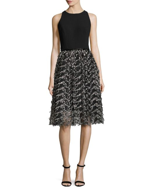 Carmen Marc Valvo - Black Sleeveless Crepe & Embroidered Mesh Cocktail Dress - Lyst