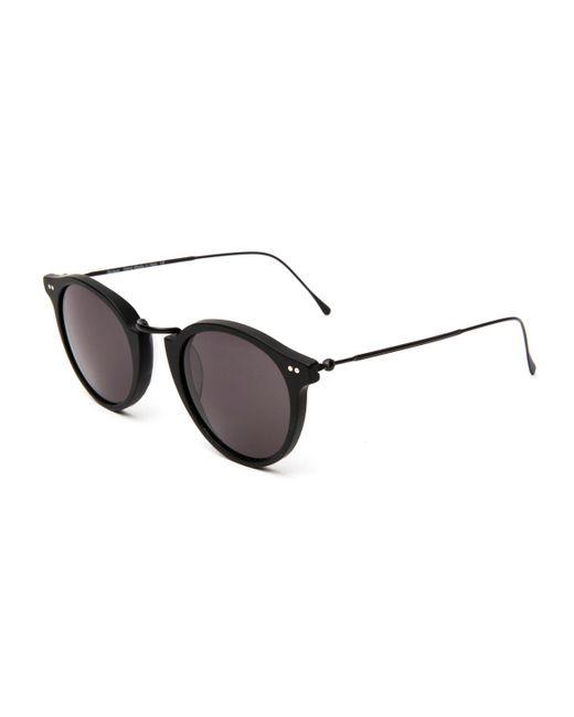 Illesteva - Black Round Acetate & Steel Monochromatic Sunglasses - Lyst