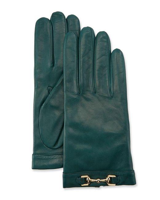 Portolano Green Napa Leather Cashmere-lined Gloves W/ Horsebit