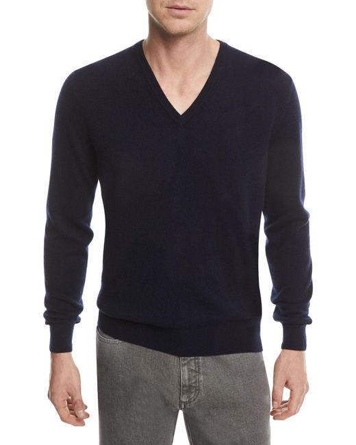 Ermenegildo Zegna Blue Cashmere V-neck Pullover Sweater for men