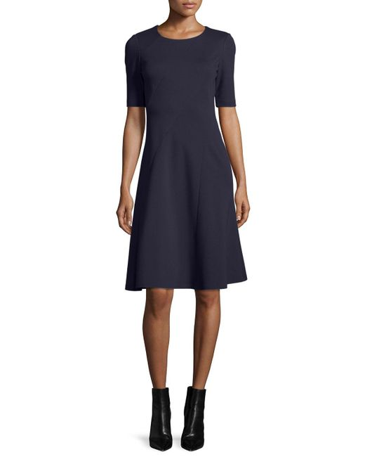 Lafayette 148 New York - Blue Half-sleeve Fit-and-flare Dress - Lyst