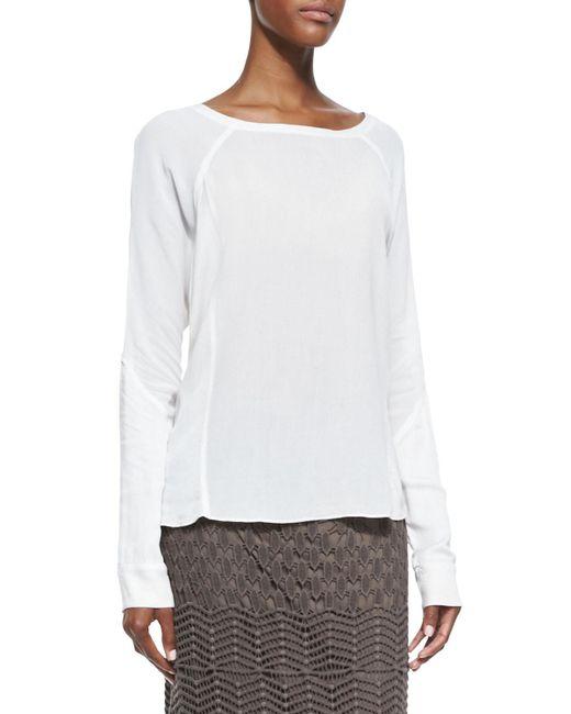 XCVI - White Long-sleeve Crepe Blouse - Lyst