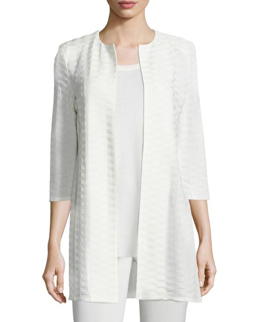 Misook - Natural Textured Long Open-Front Jacket - Lyst