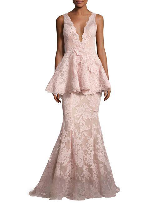 Marchesa | Pink Sleeveless Plunging V-neck Peplum Gown | Lyst