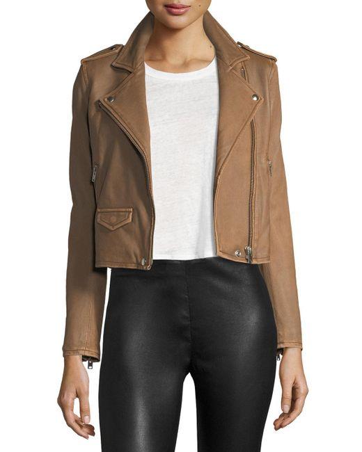 IRO - Brown Ashville Leather Moto Jacket - Lyst