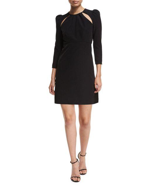 MILLY | Black Emma 3/4-sleeve Cutout Italian Cady Cocktail Dress | Lyst