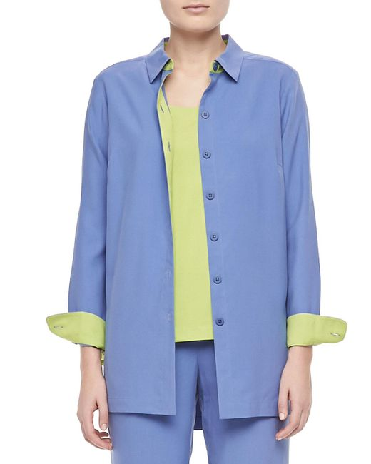 Go> By Go Silk - Blue Colorblocked Silk Shirt - Lyst