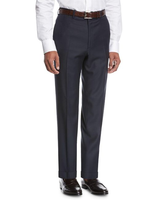 Brioni - Blue Wool Flat-front Trousers for Men - Lyst