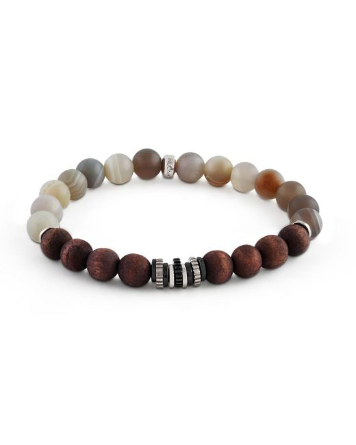 Tateossian - Gray Men's Frosted Wood & Agate Bead Bracelet for Men - Lyst