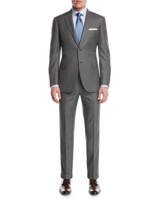 Brioni - Super 160s Wool Box-check Two-piece Suit Light Gray for Men - Lyst