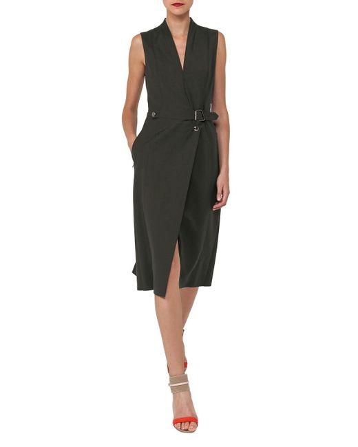 483955a332 Lyst - Akris V-neck Sleeveless Wrap-style Cotton-silk Coat Dress in ...