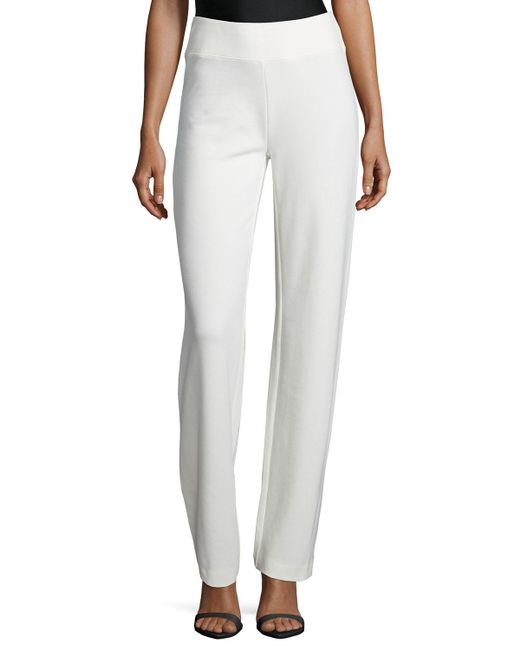 Joan Vass | White Ponte Boot-leg Pants | Lyst