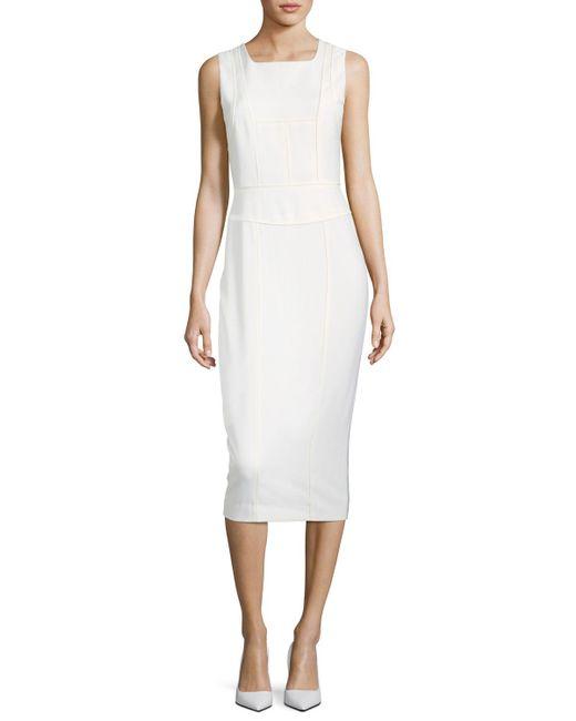 Narciso Rodriguez - White Sleeveless Seamed Sheath Wool Dress - Lyst