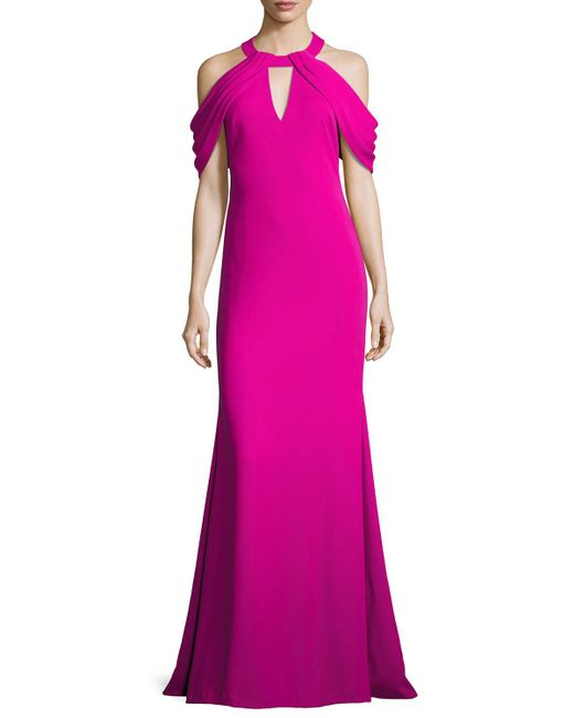 Badgley Mischka | Purple Draped-shoulder Stretch Crepe Gown | Lyst