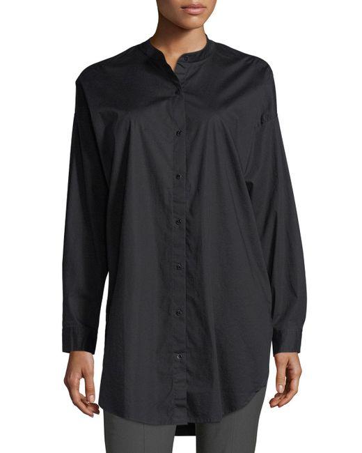Eileen Fisher - Black Mandarin-collar Stretch-lawn Button-front Shirt - Lyst