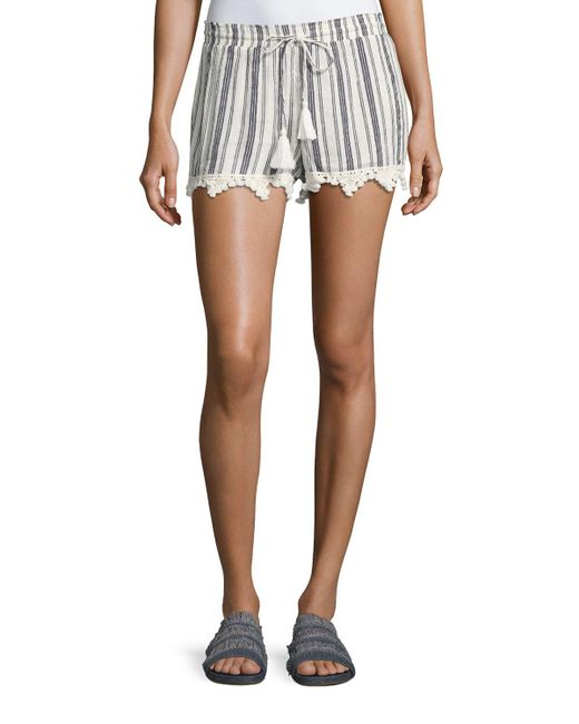 Joie - White Angelle Striped Tassel Drawstring Shorts - Lyst