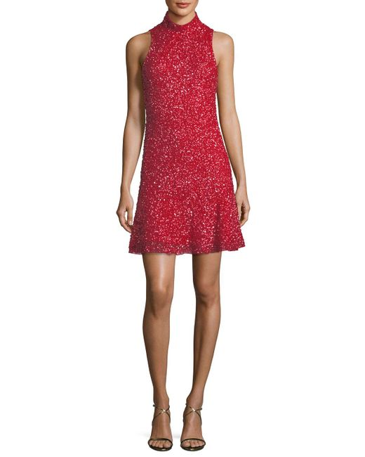 Parker Black - Red Marley Sequin Sleeveless Mini Dress - Lyst