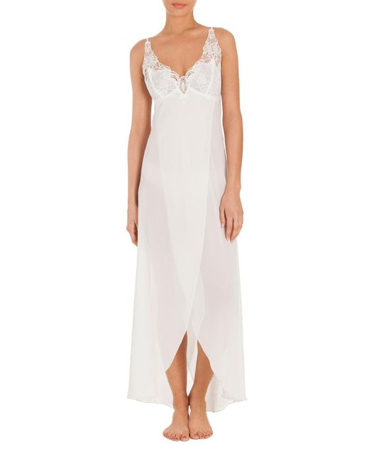 Jonquil - White Mist Lace-trim Long Nightgown - Lyst