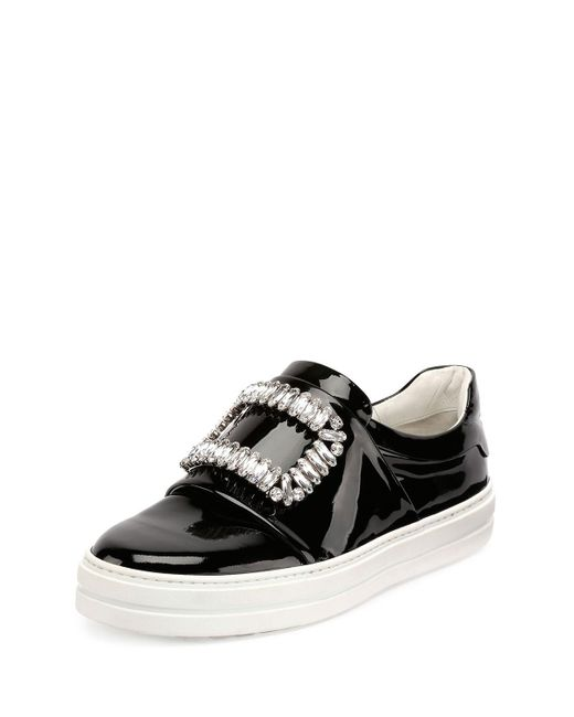 Roger Vivier - Black Patent Strass Buckle Sneakers - Lyst