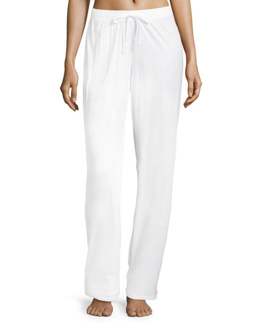 Hanro - White Pima Cotton Drawstring Pants - Lyst