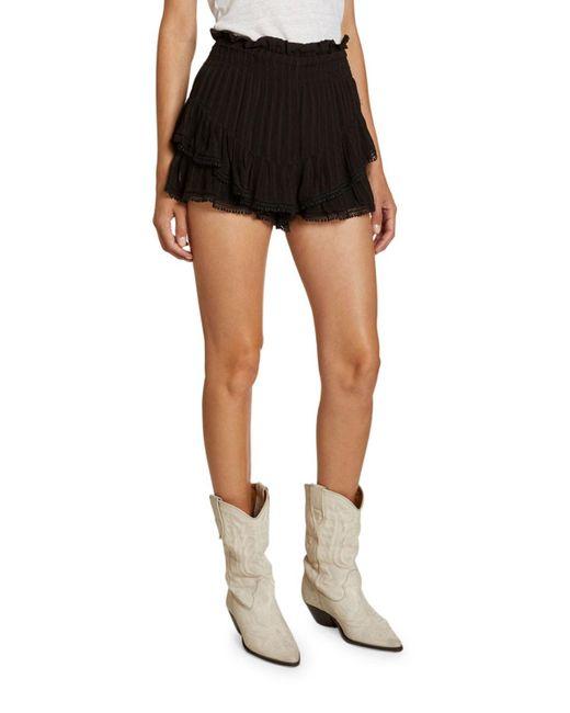 Étoile Isabel Marant Black Janis Tiered Paperbag-waist Shorts