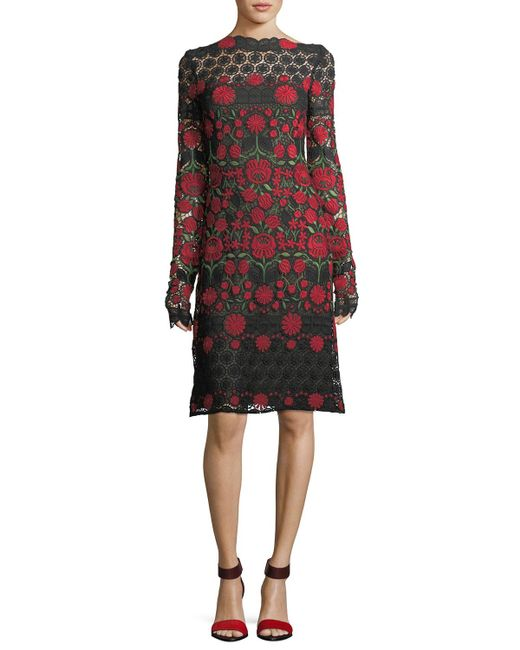Naeem Khan - Floral-embroidered Lace Long-sleeve Cocktail Dress - Lyst