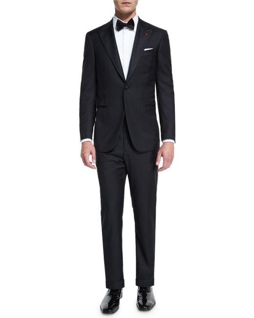 Isaia Satin Peak-lapel One-button Wool Tuxedo, Black for men