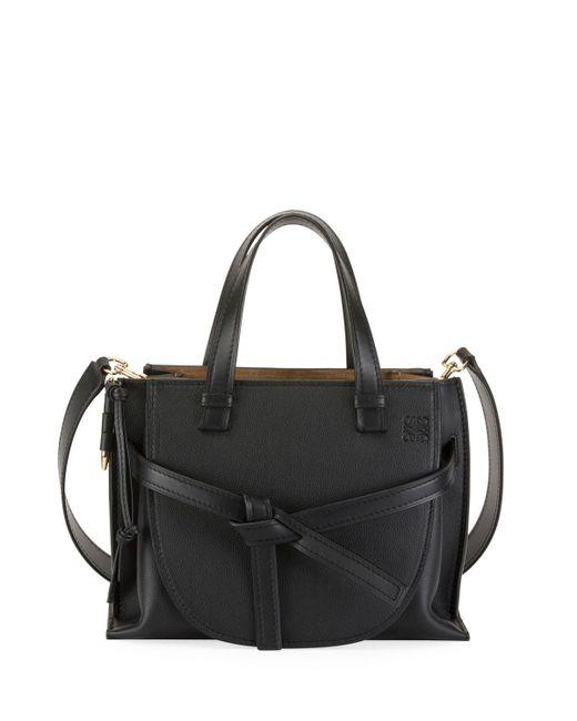Loewe Black Gate Small Leather Top-handle Tote Bag