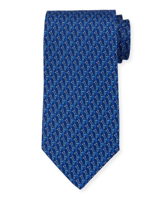 Ferragamo - Blue Fiona Giraffe Silk Tie for Men - Lyst