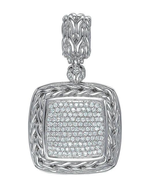 John Hardy Metallic Square Pave Diamond Pendant