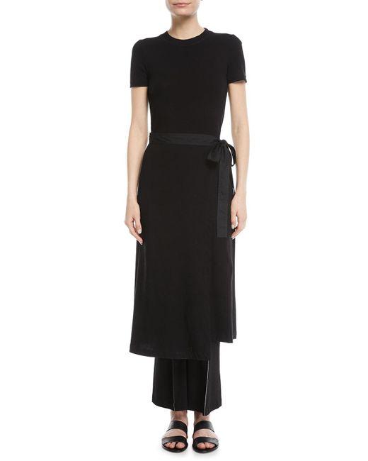 Rosetta Getty - Black Crewneck Short-sleeve Rib-jersey Apron Dress - Lyst