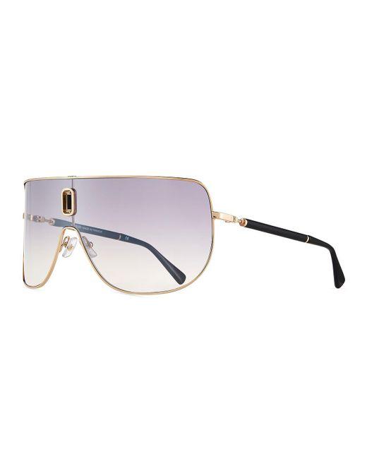 Balmain - Metallic Metal Shield Sunglasses for Men - Lyst