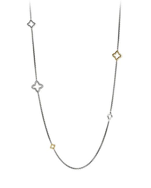 David Yurman Metallic Quatrefoil Chain Necklace With Gold