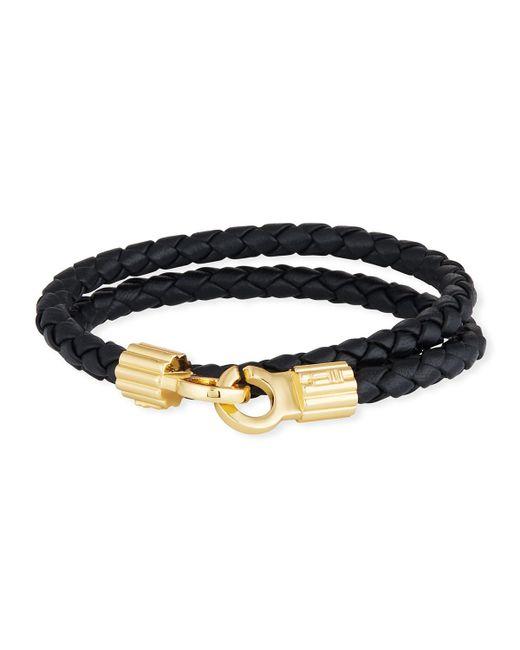 Brace Humanity Men's Braided Napa Leather Bracelet Black/gold for men