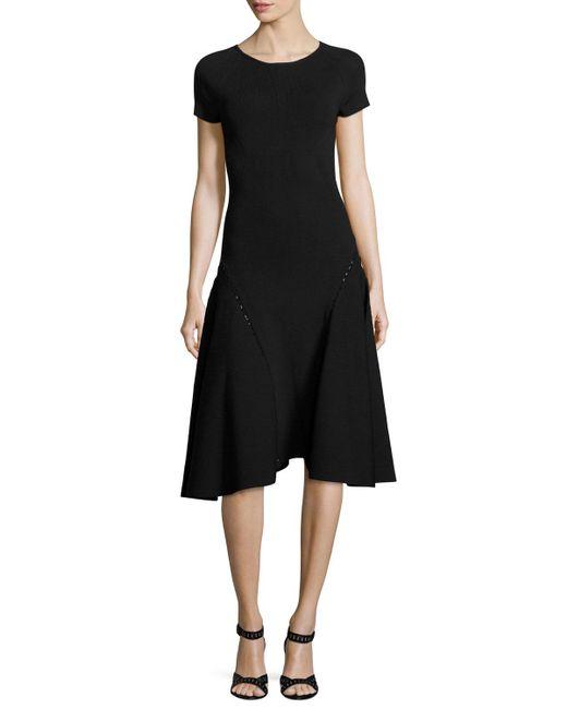Zac Posen | Black Bead-embellished Short-sleeve Fit & Flare Dress | Lyst