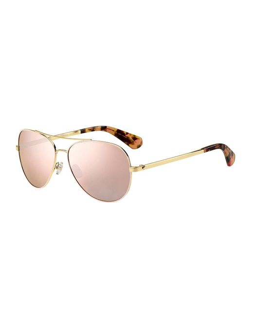 Kate Spade | Pink Avaline Mirrored Aviator Sunglasses | Lyst