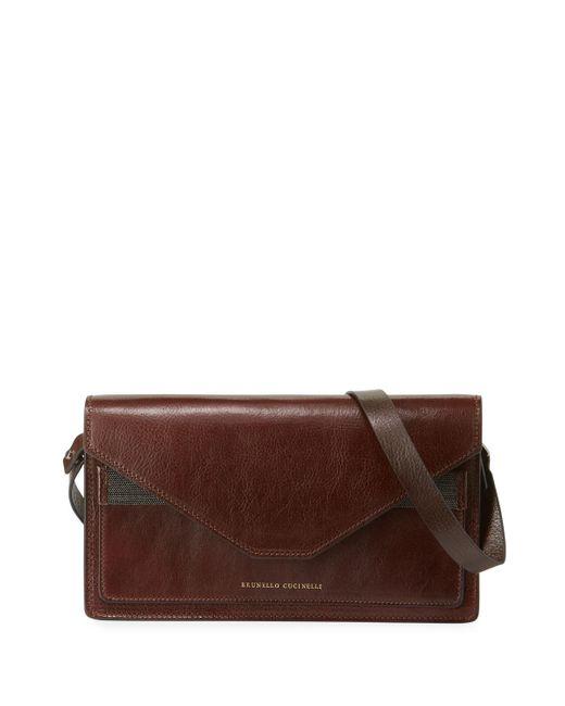 Brunello Cucinelli Red Envelope Flap Crossbody Bag