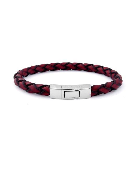 Tateossian | Red Men's Braided Leather Silver Bracelet for Men | Lyst
