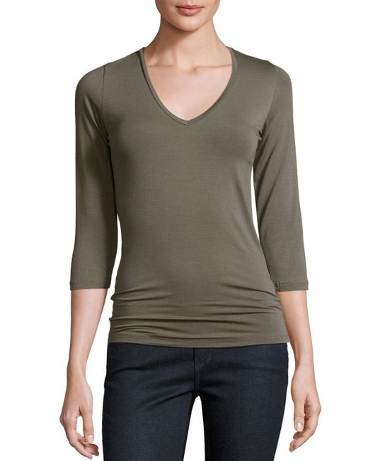 Neiman Marcus | Gray Soft Touch 3/4-sleeve V-neck Tee | Lyst