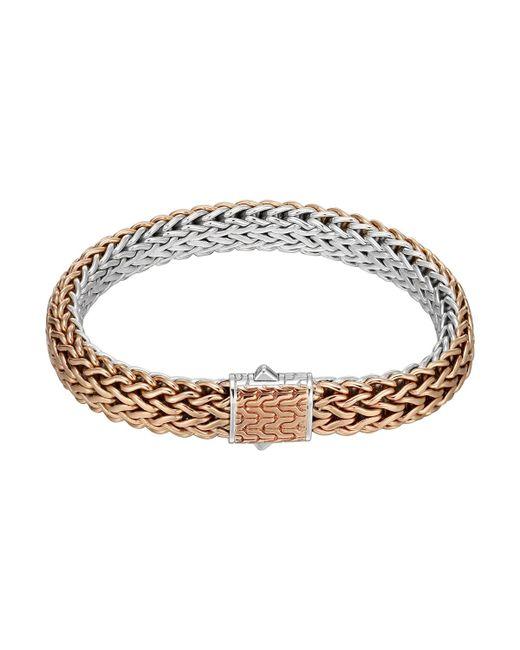 John Hardy - Metallic Bronze/silver Reversible Woven Chain Bracelet for Men - Lyst