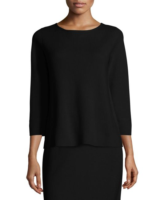 Eileen Fisher - Black 3/4-sleeve Silk/cotton Interlock Box Top - Lyst