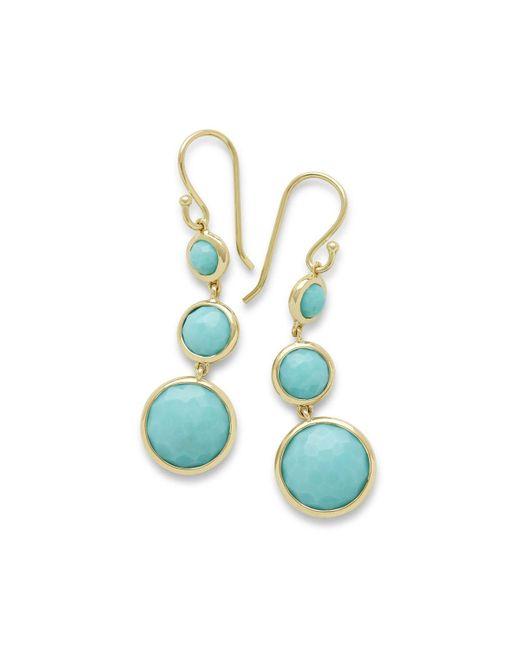 Ippolita Blue 18k Lollipop® Three-stone Drop Earrings In Turquoise