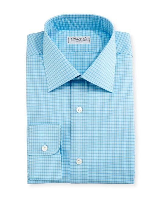 Charvet - Blue Mini-check Dress Shirt for Men - Lyst
