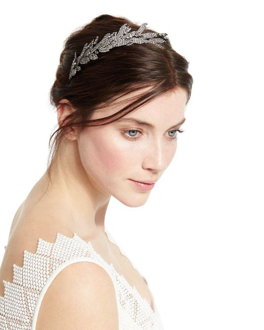 Jennifer Behr   Metallic Arielle Crystal Leaf Headband   Lyst