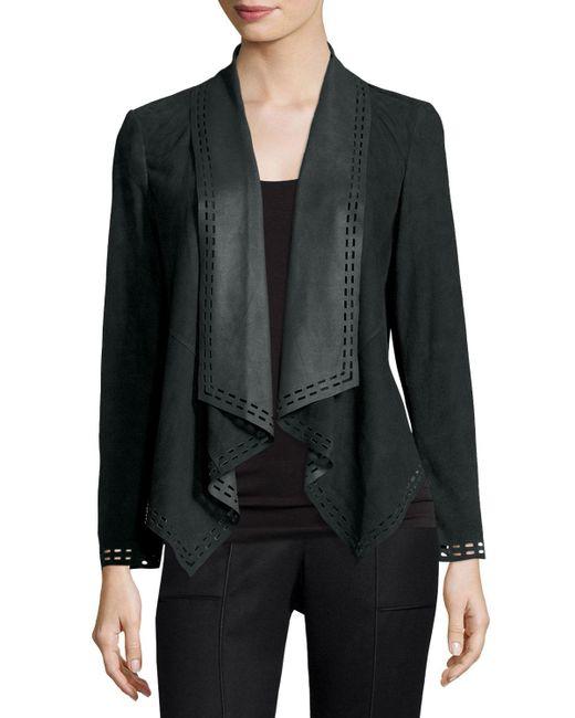 Neiman Marcus | Green Draped Suede Jacket W/ Laser-cut Border | Lyst