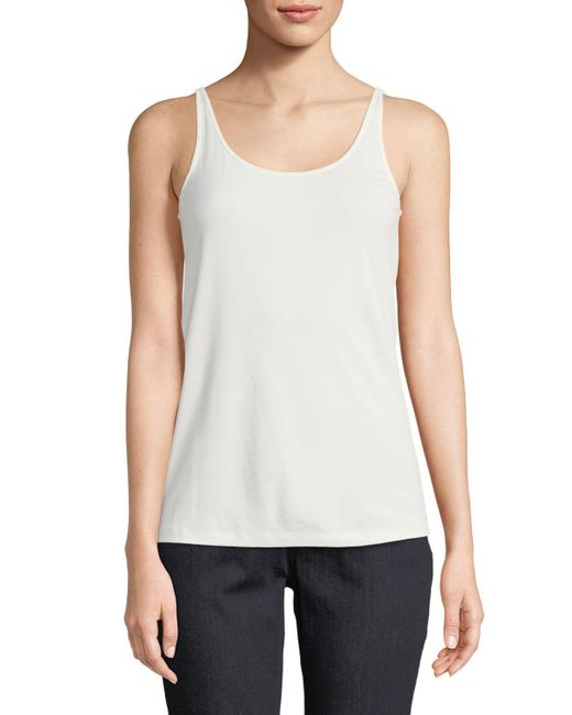 Eileen Fisher - White Silk Jersey Long Slim Camisole - Lyst