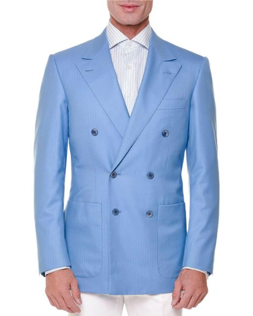 Stefano Ricci | Blue Tonal-stripe Double-breasted Sport Coat for Men | Lyst