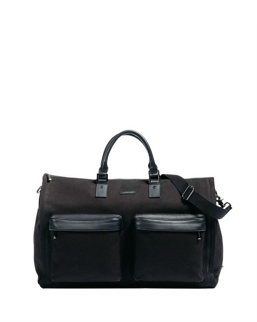 Hook + Albert Black Twill Garment Weekender Bag for men